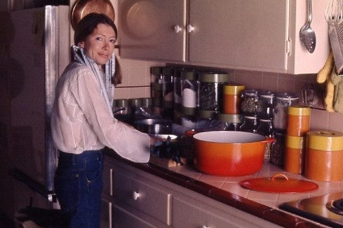 Outtake: American writer Joan Didion prepares a meal in her Malibu kitchen